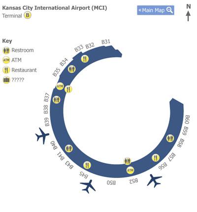 kci airport terminal map Kansas City Airport Mci Terminal B Map Map Of Terminal B At kci airport terminal map